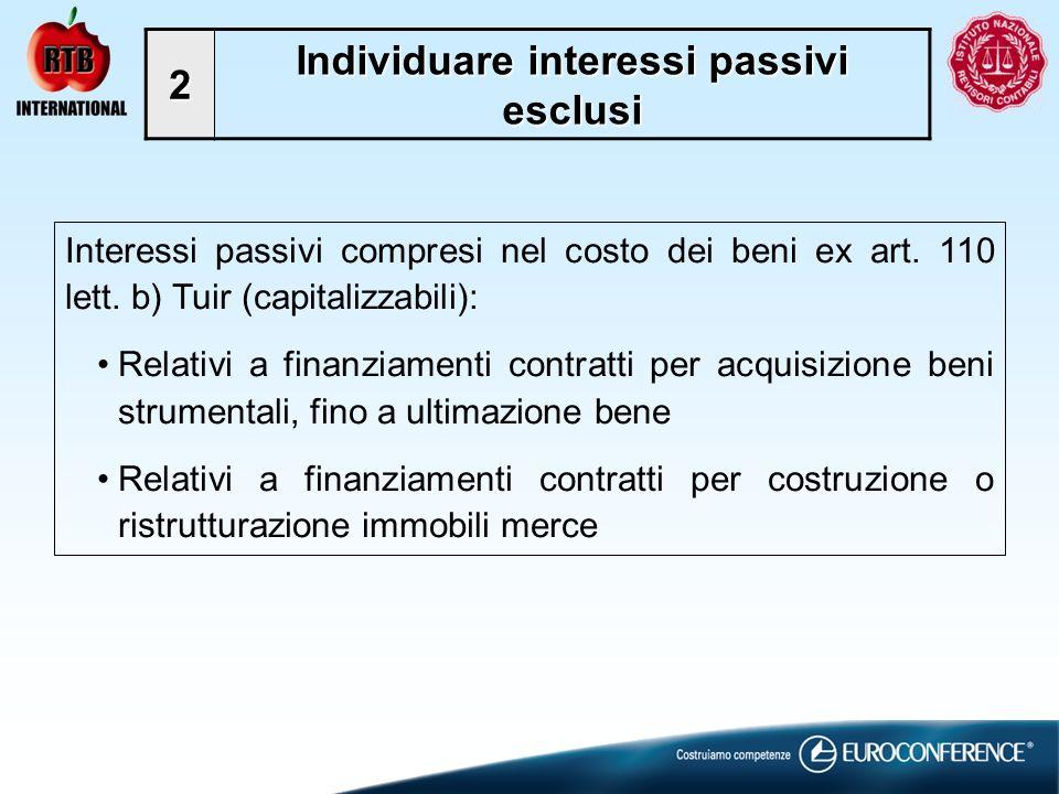 Individuare interessi passivi esclusi