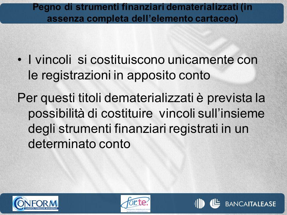 Pegno di strumenti finanziari dematerializzati (in assenza completa dell'elemento cartaceo)