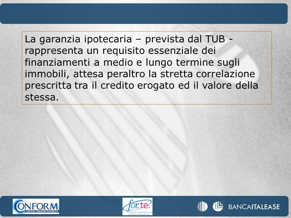 La garanzia ipotecaria – prevista dal TUB - rappresenta un requisito essenziale dei finanziamenti a medio e lungo termine sugli immobili, attesa peraltro la stretta correlazione prescritta tra il credito erogato ed il valore della stessa.