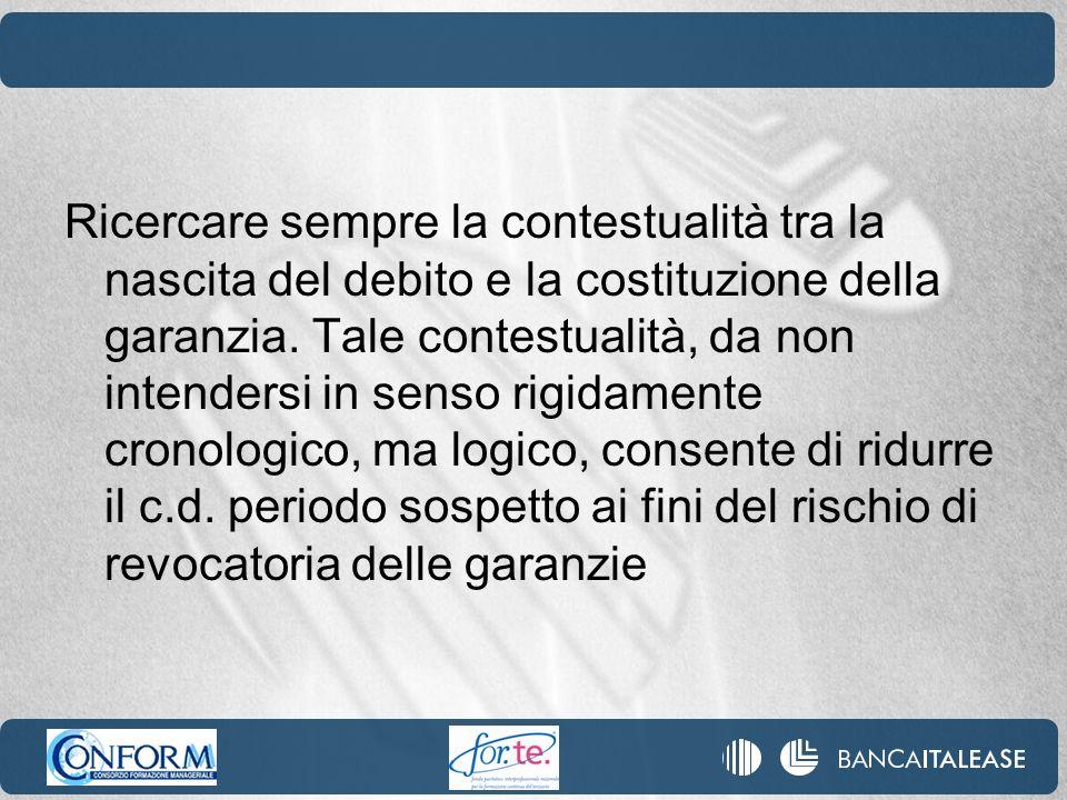 Ricercare sempre la contestualità tra la nascita del debito e la costituzione della garanzia.