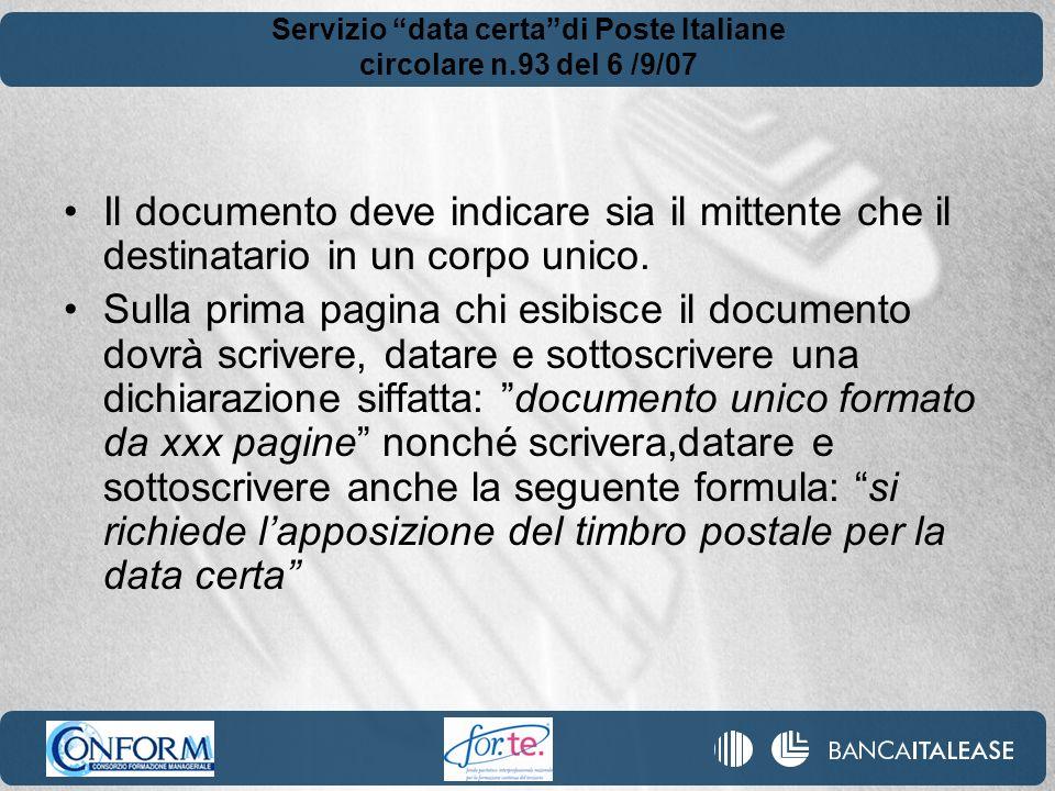 Servizio data certa di Poste Italiane circolare n.93 del 6 /9/07