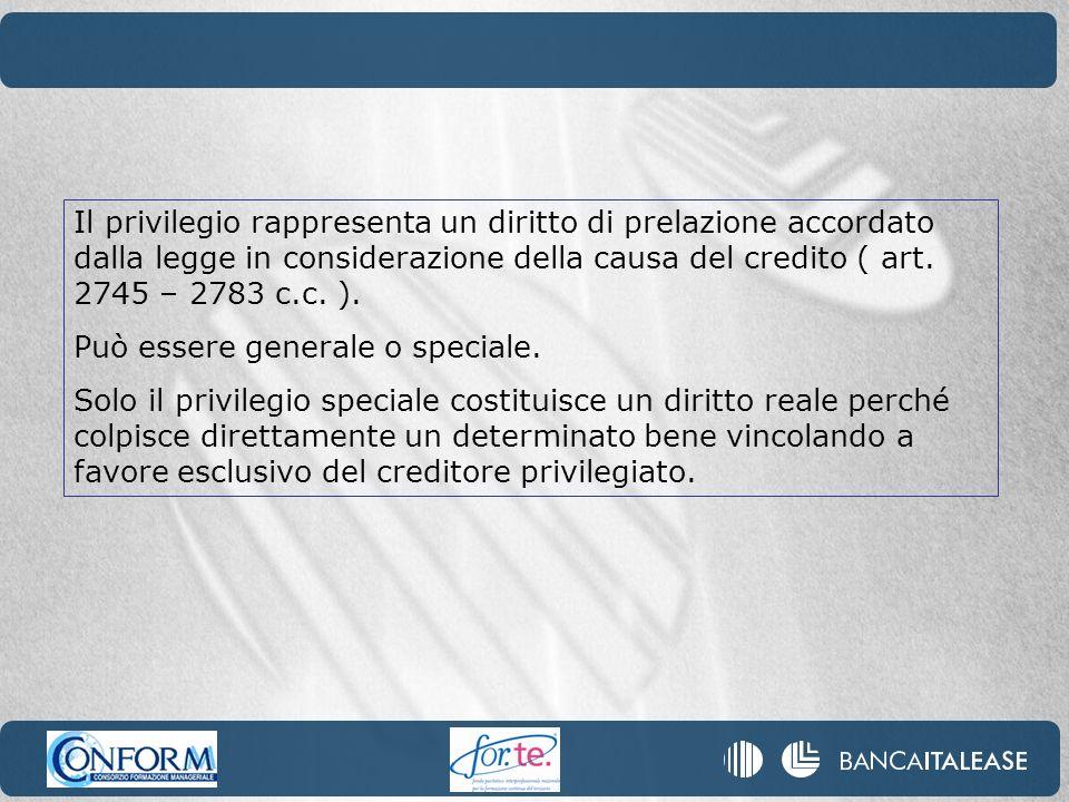 Il privilegio rappresenta un diritto di prelazione accordato dalla legge in considerazione della causa del credito ( art. 2745 – 2783 c.c. ).