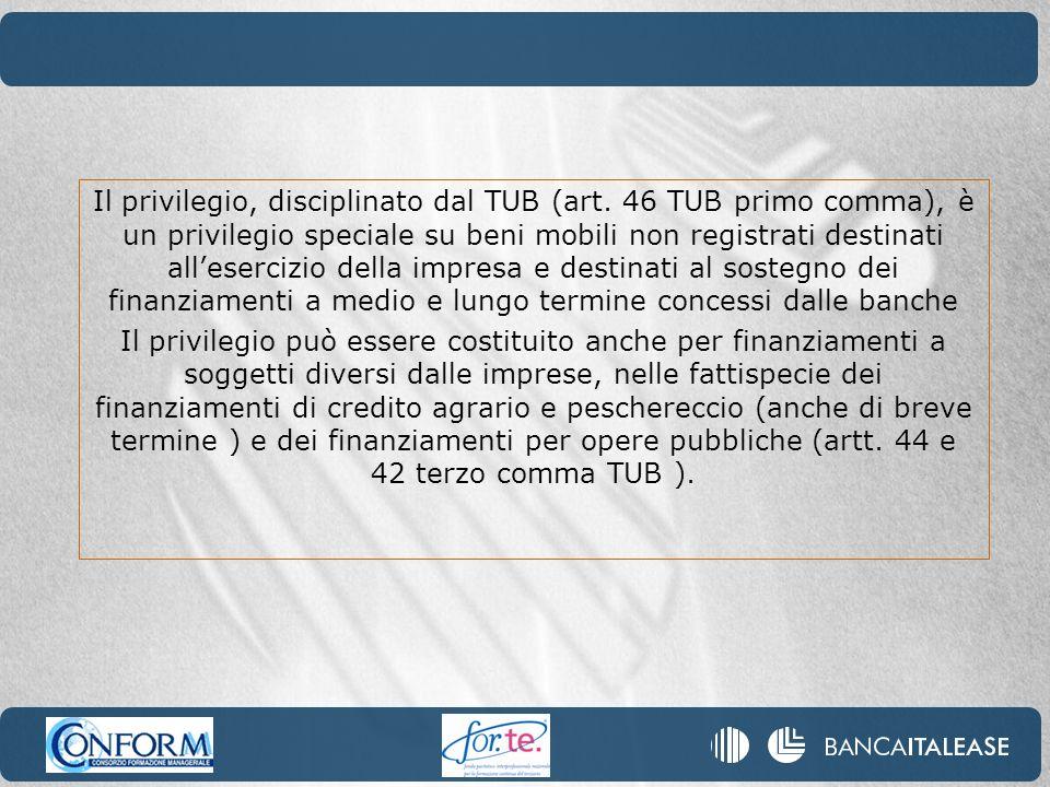 Il privilegio, disciplinato dal TUB (art