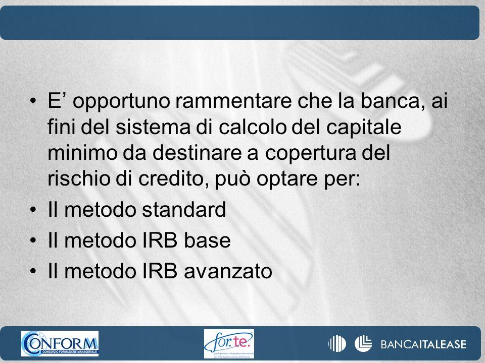 E' opportuno rammentare che la banca, ai fini del sistema di calcolo del capitale minimo da destinare a copertura del rischio di credito, può optare per: