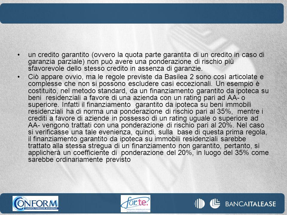 un credito garantito (ovvero la quota parte garantita di un credito in caso di garanzia parziale) non può avere una ponderazione di rischio più sfavorevole dello stesso credito in assenza di garanzie.