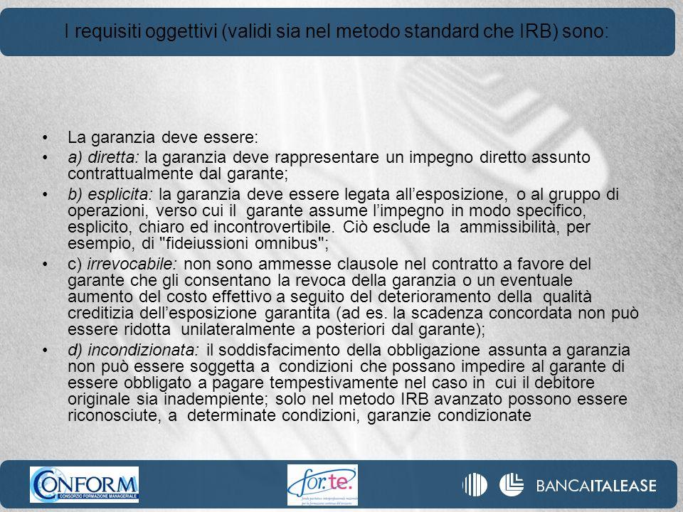 I requisiti oggettivi (validi sia nel metodo standard che IRB) sono: