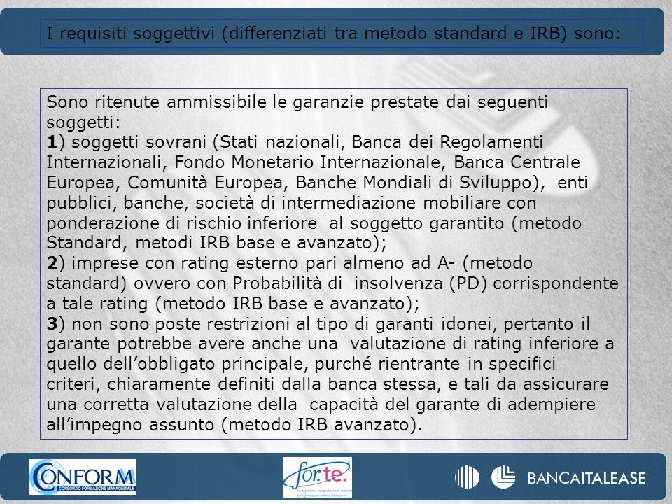 I requisiti soggettivi (differenziati tra metodo standard e IRB) sono: