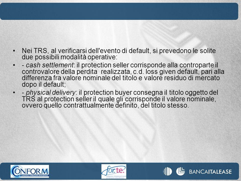 Nei TRS, al verificarsi dell evento di default, si prevedono le solite due possibili modalità operative: