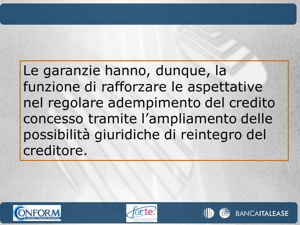 Le garanzie hanno, dunque, la funzione di rafforzare le aspettative nel regolare adempimento del credito concesso tramite l'ampliamento delle possibilità giuridiche di reintegro del creditore.
