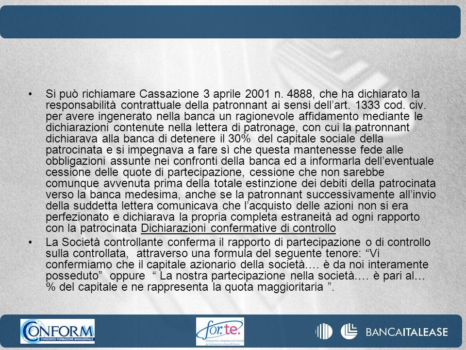 Si può richiamare Cassazione 3 aprile 2001 n