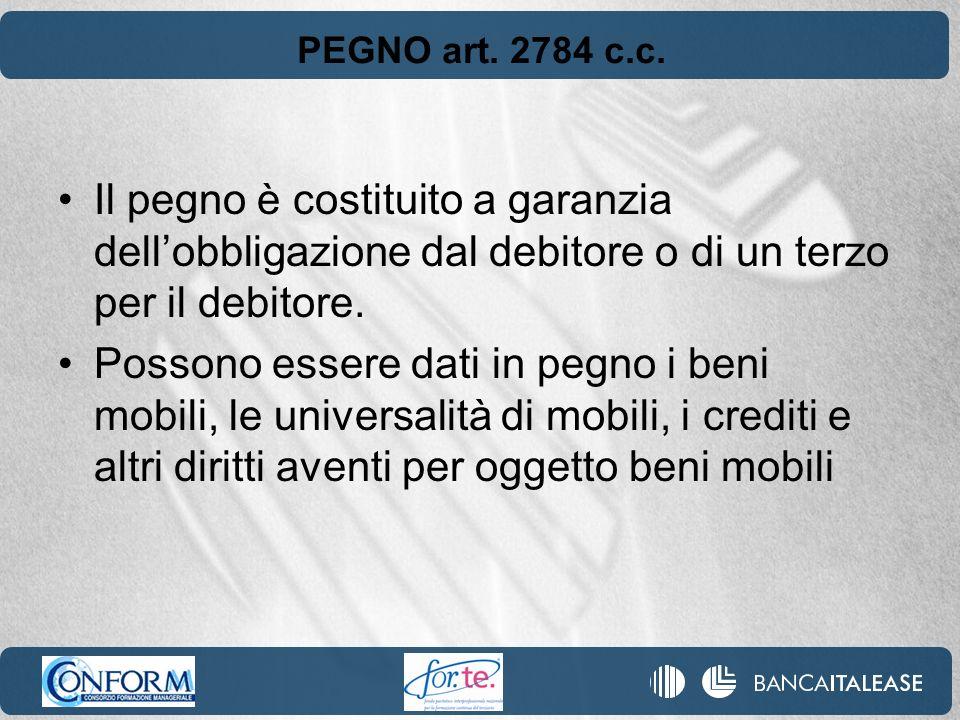 PEGNO art. 2784 c.c. Il pegno è costituito a garanzia dell'obbligazione dal debitore o di un terzo per il debitore.