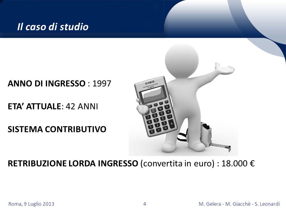 Il caso di studio ANNO DI INGRESSO : 1997 ETA' ATTUALE: 42 ANNI
