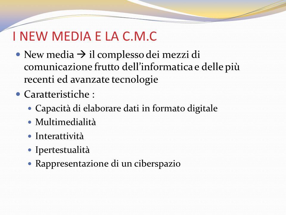 I NEW MEDIA E LA C.M.C New media  il complesso dei mezzi di comunicazione frutto dell'informatica e delle più recenti ed avanzate tecnologie.