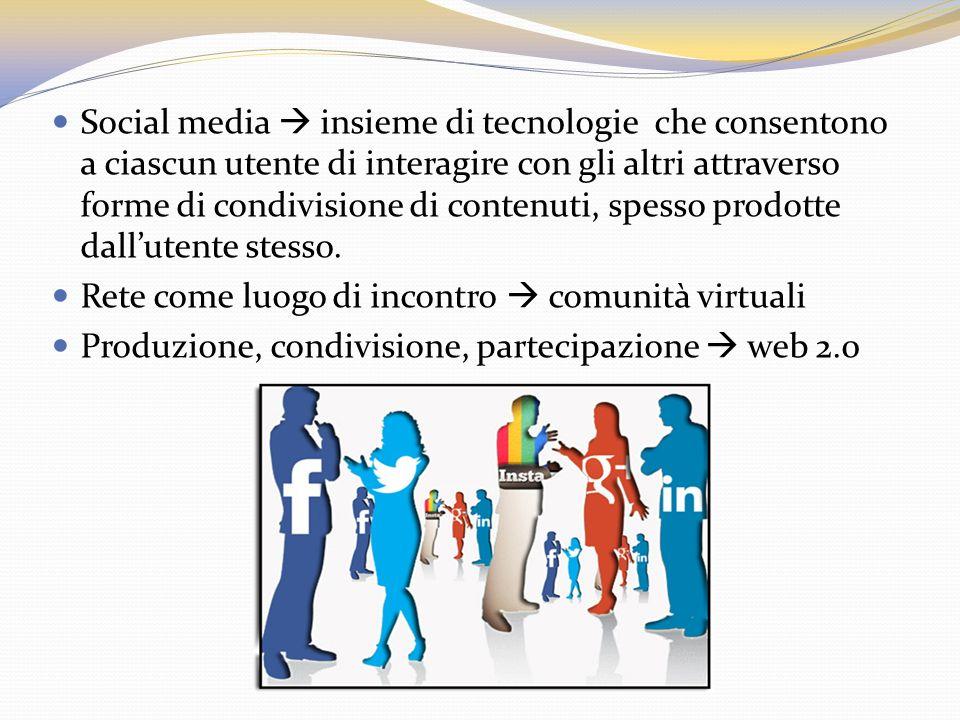 Social media  insieme di tecn0logie che consentono a ciascun utente di interagire con gli altri attraverso forme di condivisione di contenuti, spesso prodotte dall'utente stesso.