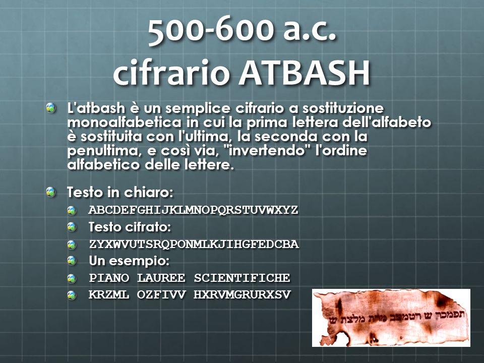 500-600 a.c. cifrario ATBASH