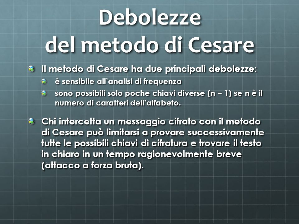 Debolezze del metodo di Cesare