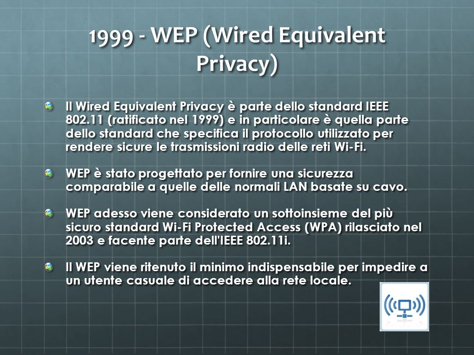 1999 - WEP (Wired Equivalent Privacy)