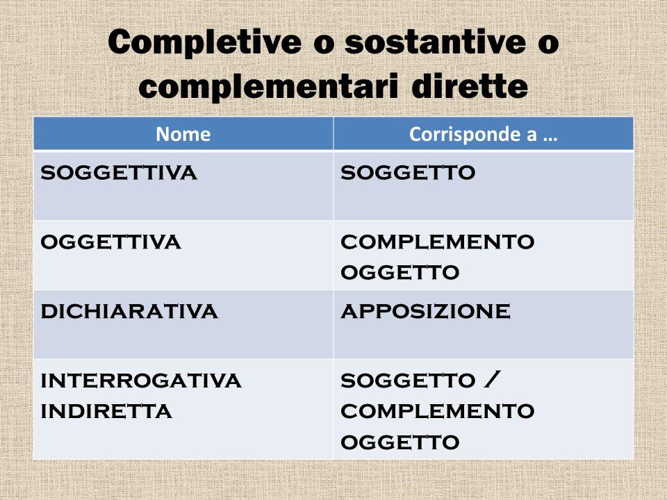 Completive o sostantive o complementari dirette