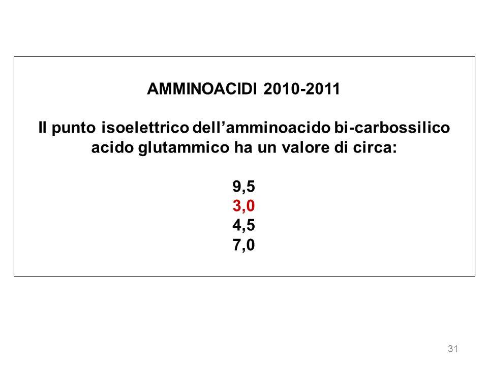 AMMINOACIDI 2010-2011 Il punto isoelettrico dell'amminoacido bi-carbossilico acido glutammico ha un valore di circa:
