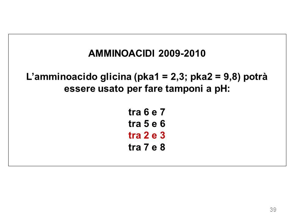 AMMINOACIDI 2009-2010 L'amminoacido glicina (pka1 = 2,3; pka2 = 9,8) potrà essere usato per fare tamponi a pH: