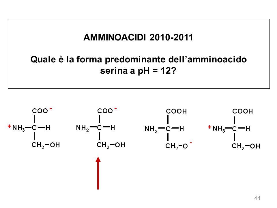 Quale è la forma predominante dell'amminoacido