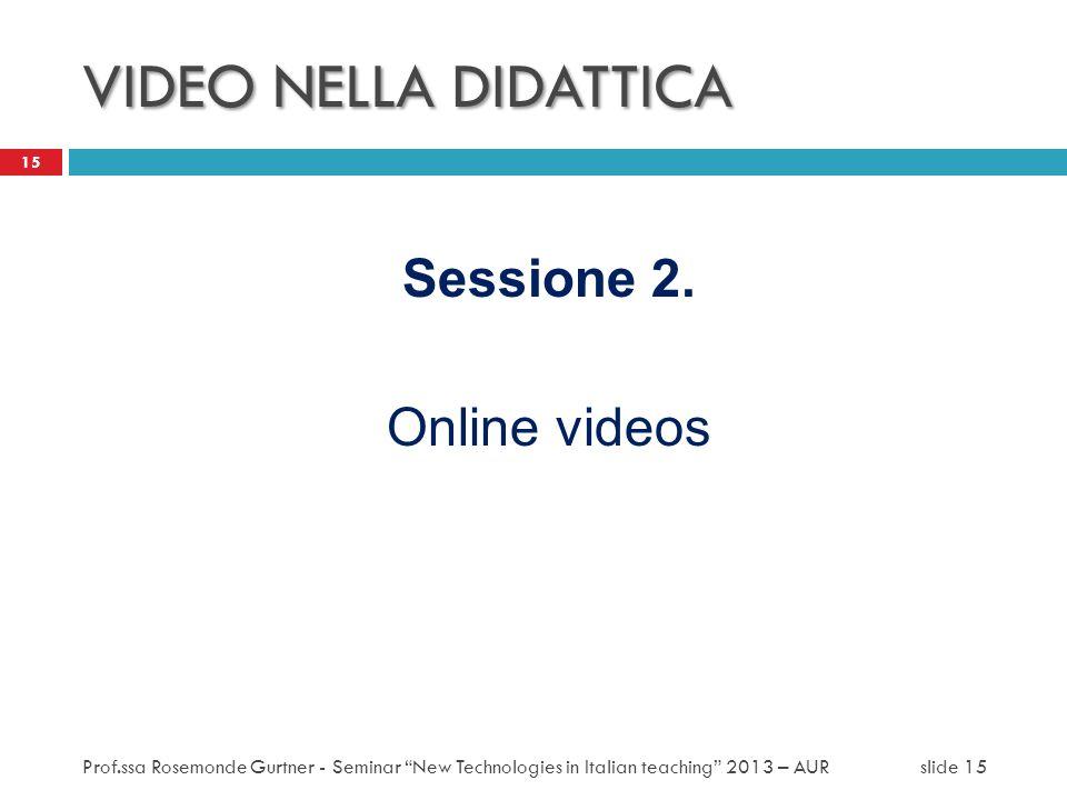 VIDEO NELLA DIDATTICA Sessione 2. Online videos