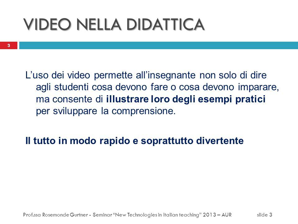 VIDEO NELLA DIDATTICA