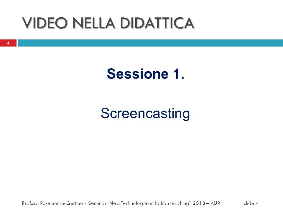 VIDEO NELLA DIDATTICA Sessione 1. Screencasting