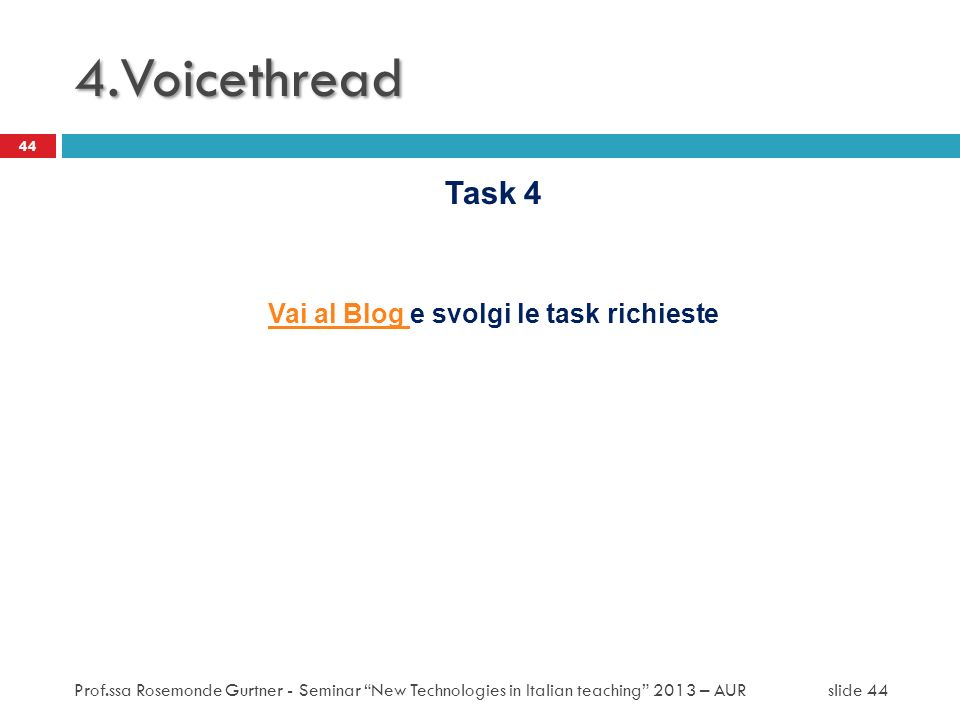 Vai al Blog e svolgi le task richieste
