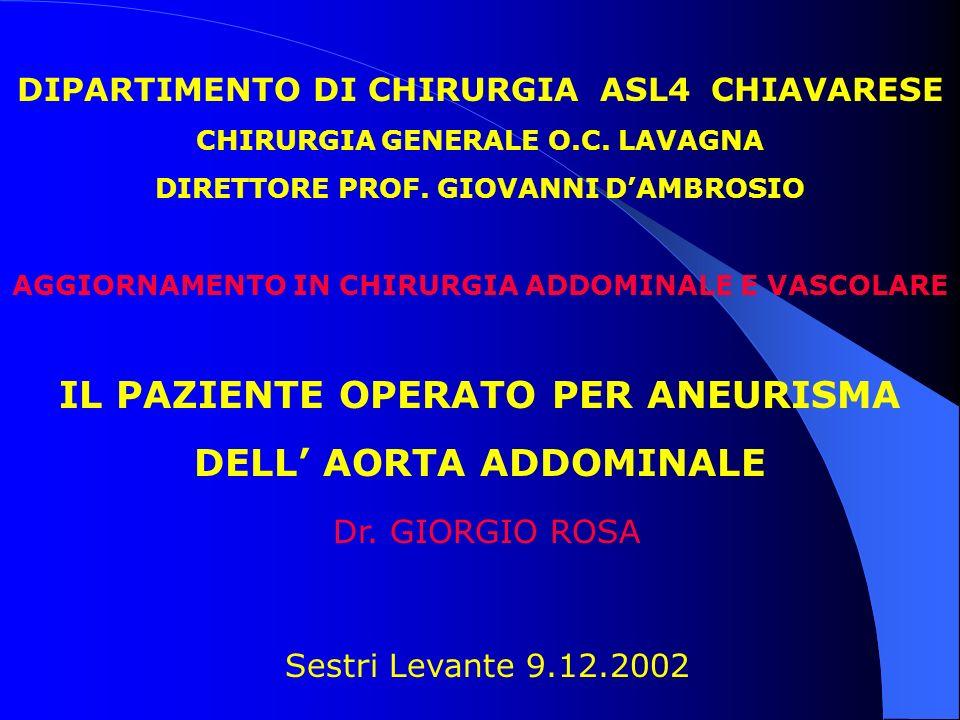 IL PAZIENTE OPERATO PER ANEURISMA DELL' AORTA ADDOMINALE