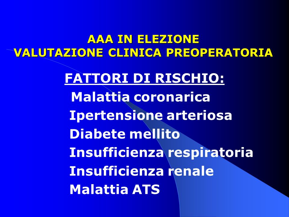 AAA IN ELEZIONE VALUTAZIONE CLINICA PREOPERATORIA