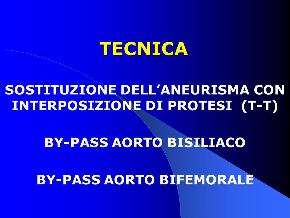 TECNICA SOSTITUZIONE DELL'ANEURISMA CON INTERPOSIZIONE DI PROTESI (T-T) BY-PASS AORTO BISILIACO.