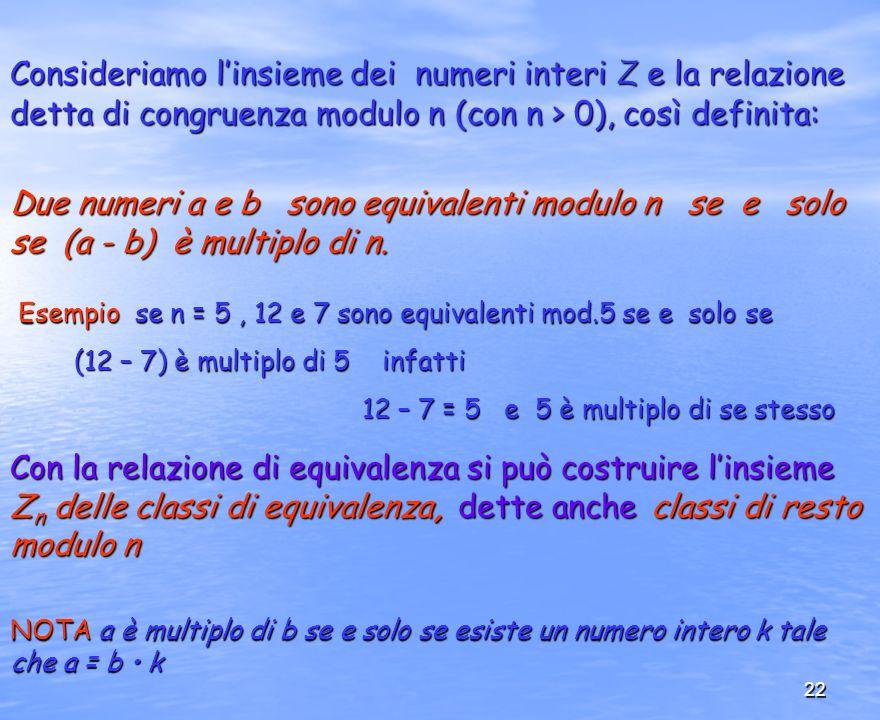 Consideriamo l'insieme dei numeri interi Z e la relazione detta di congruenza modulo n (con n > 0), così definita: