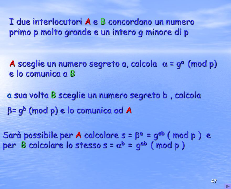 a sua volta B sceglie un numero segreto b , calcola