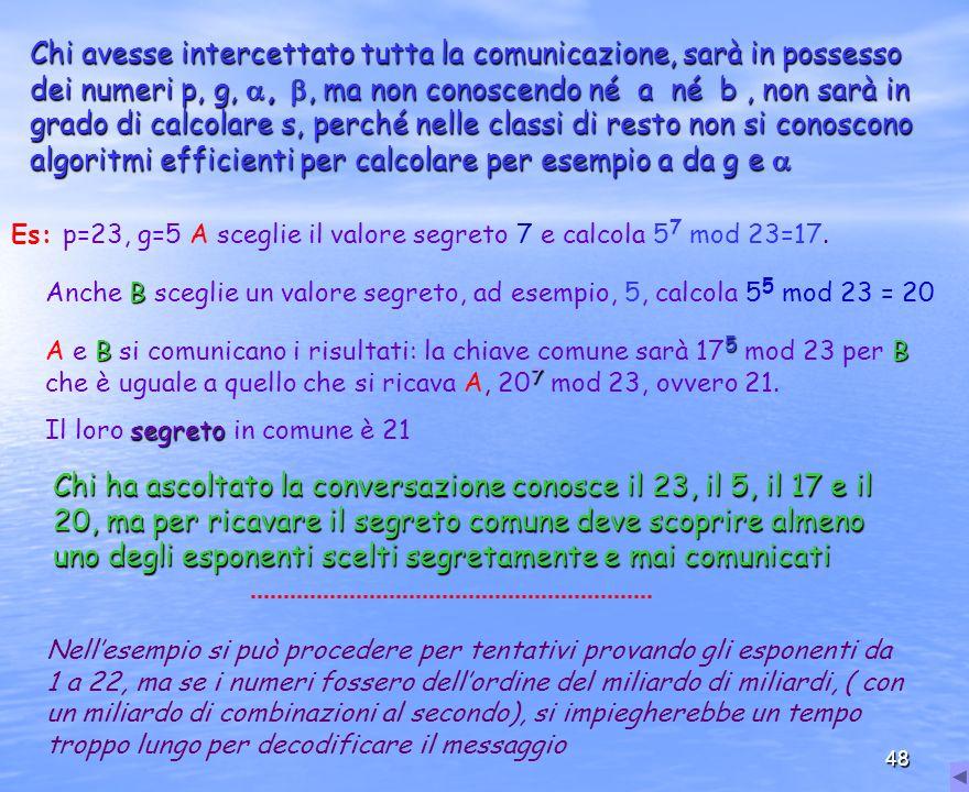 Chi avesse intercettato tutta la comunicazione, sarà in possesso dei numeri p, g, , , ma non conoscendo né a né b , non sarà in grado di calcolare s, perché nelle classi di resto non si conoscono algoritmi efficienti per calcolare per esempio a da g e 
