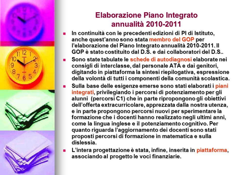 Elaborazione Piano Integrato annualità 2010-2011