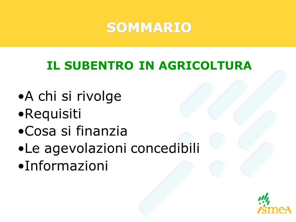 IL SUBENTRO IN AGRICOLTURA