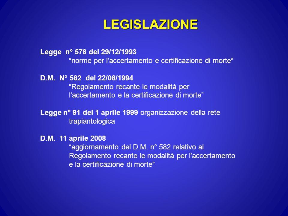 LEGISLAZIONE Legge n° 578 del 29/12/1993