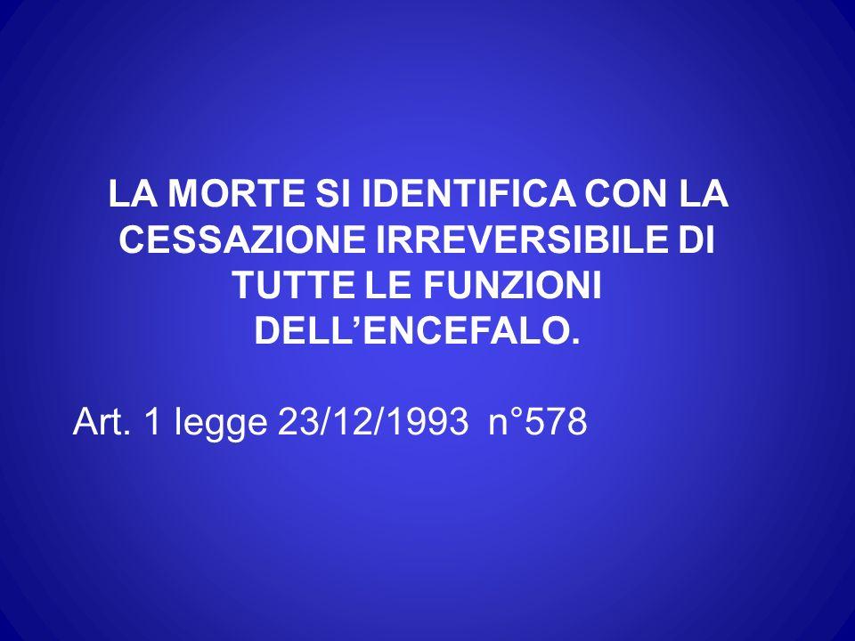 LA MORTE SI IDENTIFICA CON LA CESSAZIONE IRREVERSIBILE DI TUTTE LE FUNZIONI DELL'ENCEFALO.
