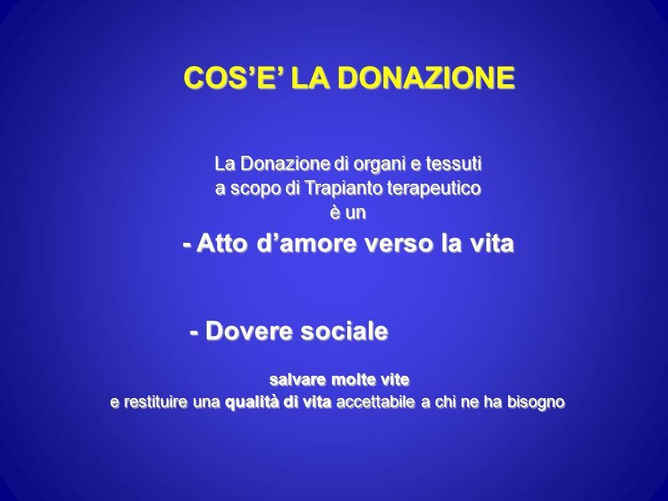 COS'E' LA DONAZIONE - Atto d'amore verso la vita - Dovere sociale
