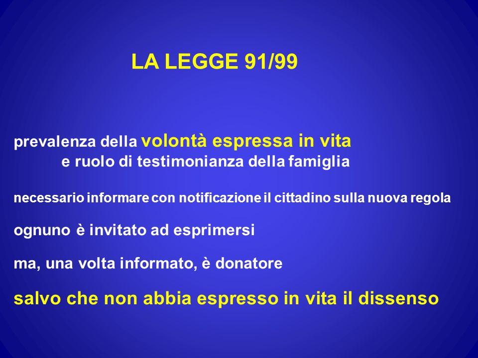 LA LEGGE 91/99 salvo che non abbia espresso in vita il dissenso