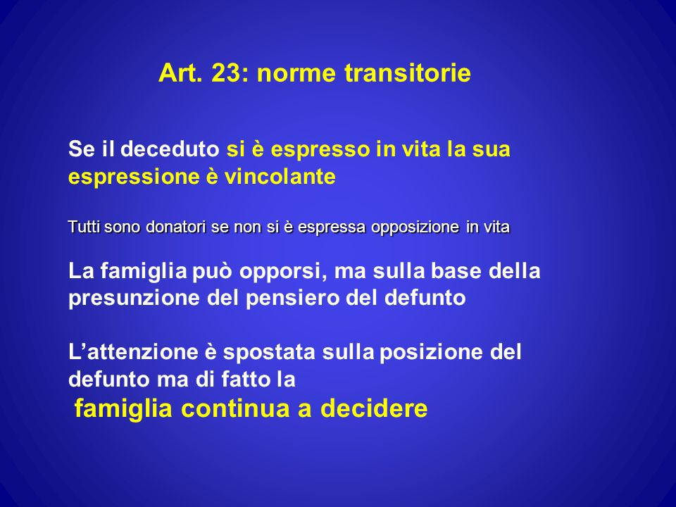 Art. 23: norme transitorie