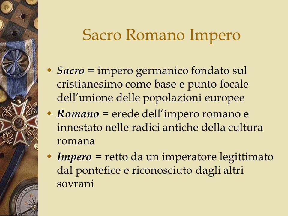 Sacro Romano Impero Sacro = impero germanico fondato sul cristianesimo come base e punto focale dell'unione delle popolazioni europee.