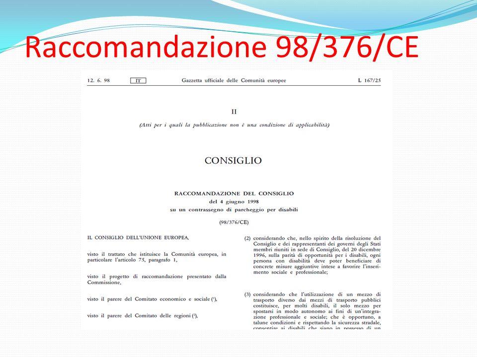Raccomandazione 98/376/CE