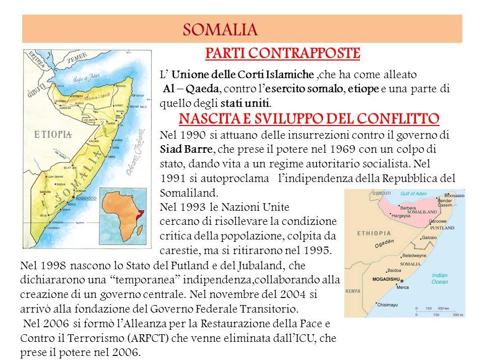 SOMALIA PARTI CONTRAPPOSTE NASCITA E SVILUPPO DEL CONFLITTO