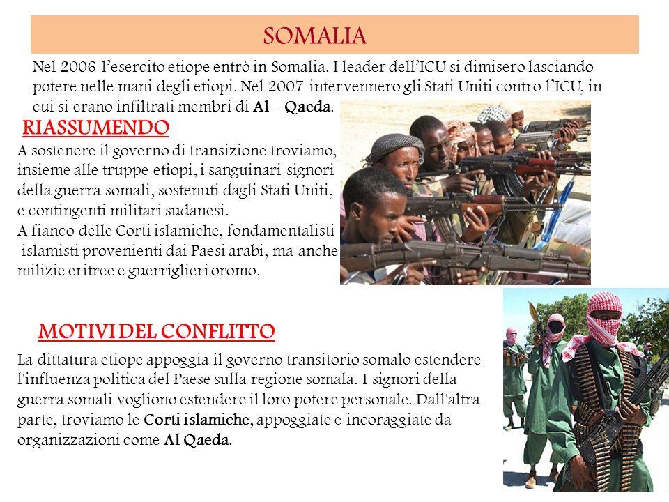 SOMALIA RIASSUMENDO MOTIVI DEL CONFLITTO