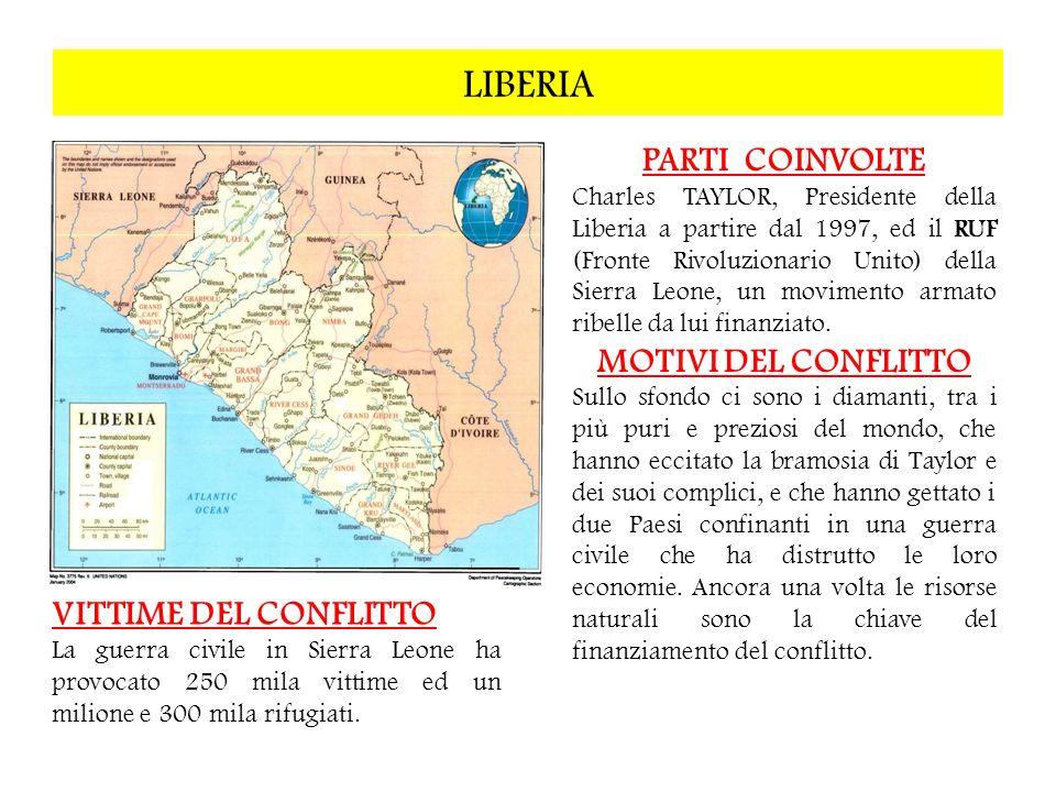 LIBERIA PARTI COINVOLTE MOTIVI DEL CONFLITTO VITTIME DEL CONFLITTO