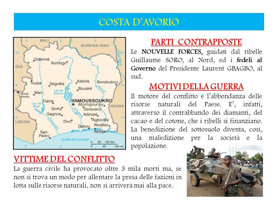COSTA D'AVORIO PARTI CONTRAPPOSTE MOTIVI DELLA GUERRA