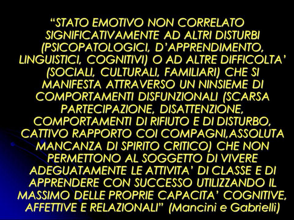 STATO EMOTIVO NON CORRELATO SIGNIFICATIVAMENTE AD ALTRI DISTURBI (PSICOPATOLOGICI, D'APPRENDIMENTO, LINGUISTICI, COGNITIVI) O AD ALTRE DIFFICOLTA' (SOCIALI, CULTURALI, FAMILIARI) CHE SI MANIFESTA ATTRAVERSO UN NINSIEME DI COMPORTAMENTI DISFUNZIONALI (SCARSA PARTECIPAZIONE, DISATTENZIONE, COMPORTAMENTI DI RIFIUTO E DI DISTURBO, CATTIVO RAPPORTO COI COMPAGNI,ASSOLUTA MANCANZA DI SPIRITO CRITICO) CHE NON PERMETTONO AL SOGGETTO DI VIVERE ADEGUATAMENTE LE ATTIVITA' DI CLASSE E DI APPRENDERE CON SUCCESSO UTILIZZANDO IL MASSIMO DELLE PROPRIE CAPACITA' COGNITIVE, AFFETTIVE E RELAZIONALI (Mancini e Gabrielli)