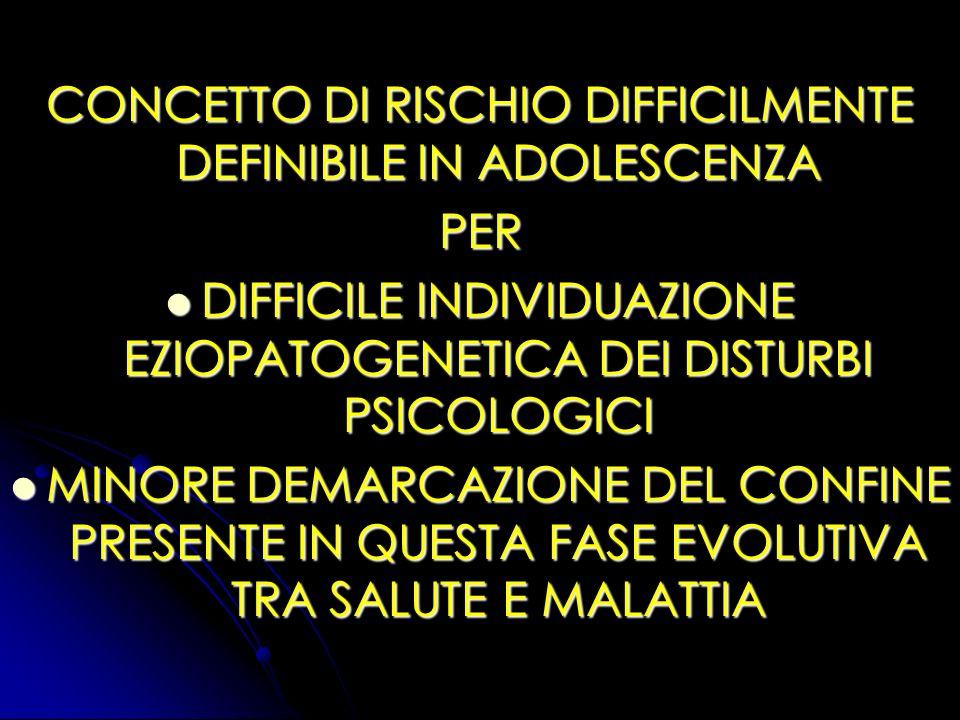 CONCETTO DI RISCHIO DIFFICILMENTE DEFINIBILE IN ADOLESCENZA PER